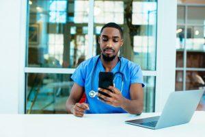 Doctor using telemedicine in Nigeria